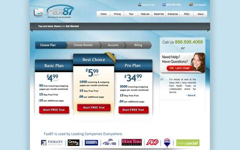 Screenshot of Pricing Page fax87.com - Get Started - Fax87.com   Online Fax Service   Email Fax   Internet Faxing to Email - captured Feb. 9, 2016