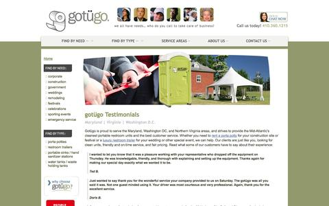 Screenshot of Testimonials Page gotugo.com - Gotügo Reviews & Customer Testimonials | MD Porta Potty Reviews - captured Sept. 30, 2014