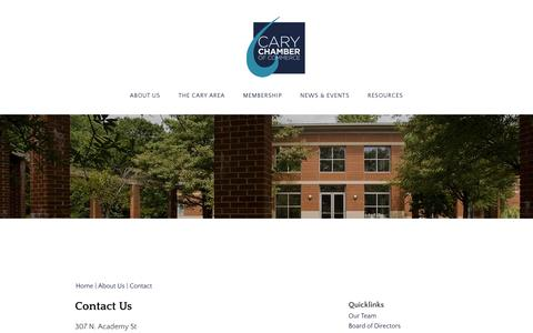 Screenshot of Contact Page carychamber.com - Contact Us | Cary Chamber of Commerce | Cary, NC - captured Oct. 25, 2016