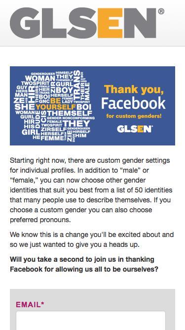 Screenshot of Landing Page  glsen.org - Take Action  |  Thank You Facebook