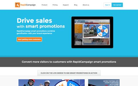 Screenshot of Home Page rapidcampaign.com - RapidCampaign | Drive sales and increase conversions with smart promotions - captured Sept. 5, 2015