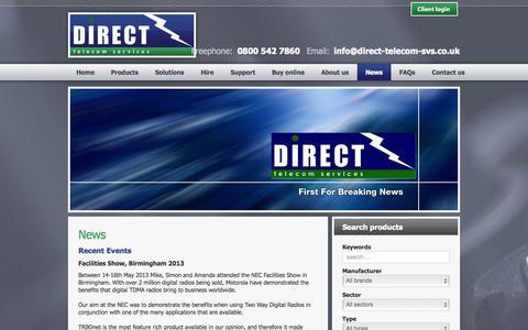 Screenshot of Press Page direct-telecom-svs.co.uk - Direct Telecom Services - News - captured Oct. 5, 2014