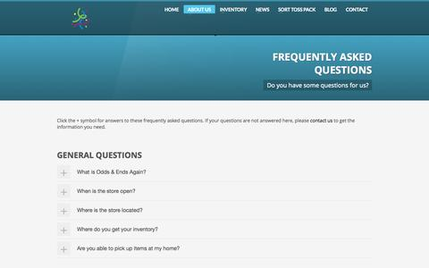 Screenshot of FAQ Page oddsandendsagain.com - Odds & Ends Again | Frequently Asked Questions - captured Sept. 30, 2014