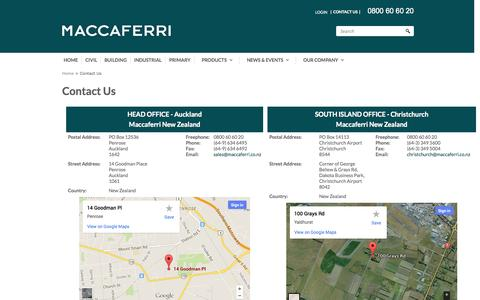 Screenshot of Contact Page maccaferri.co.nz - Contact Us - captured Nov. 2, 2014