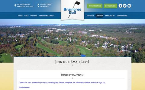 Screenshot of Signup Page braintreegolf.com - Join Our Email List! - captured April 8, 2017