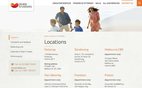 Screenshot of Locations Page statetrustees.com.au - Our Offices In Victoria | State Trustees VIC - captured Feb. 9, 2016