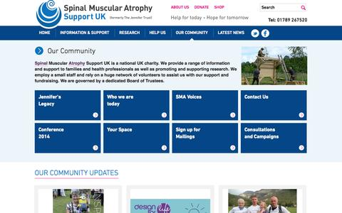 Screenshot of About Page smasupportuk.org.uk - Our Community - SMA Support UK - captured Oct. 7, 2014