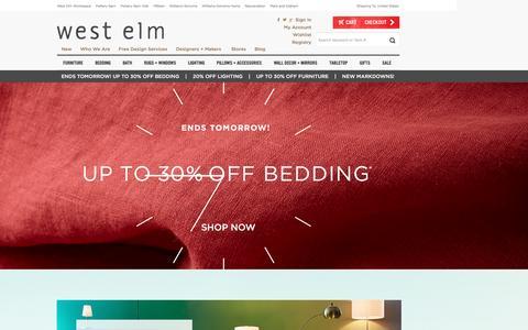 Screenshot of Home Page westelm.com - Modern Furniture, Home Decor & Home Accessories | west elm - captured Feb. 2, 2016