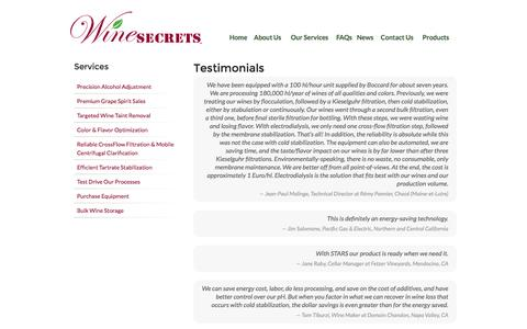 Screenshot of Testimonials Page winesecrets.com - Testimonials | Wine Secrets - captured Oct. 1, 2014