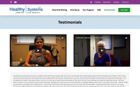 Screenshot of Testimonials Page healthysystemsusa.com - Testimonials – Healthy Systems USA - captured May 16, 2017