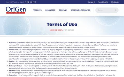 Screenshot of Terms Page origen.com - Terms of Use - Origen Biomedical - captured June 11, 2018