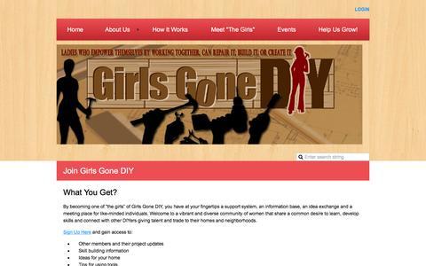 "Screenshot of Signup Page girlsgonediy.com - Girls Gone DIY - Join ""The Girls"" - captured July 14, 2016"