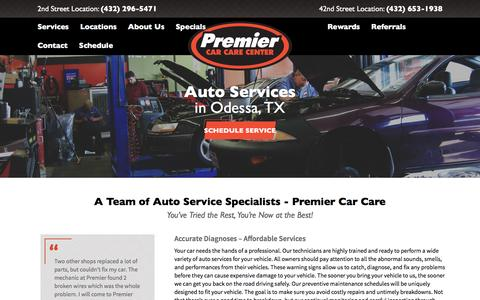 Screenshot of Services Page premiercarcare.net - Quality Auto Repair Services | Premier Car Care - captured Nov. 9, 2016