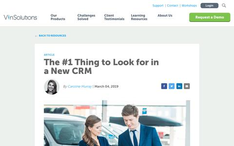 Screenshot of Blog vinsolutions.com - VinSolutions - The #1 Thing to Look for in a New CRM - captured Dec. 3, 2019