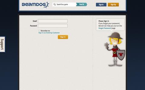 Screenshot of Login Page beamdog.com - Sign In - Beamdog - Great Games, Easy - captured Sept. 25, 2014