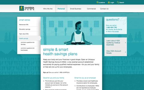 Umpqua Bank health savings account HSAs -- personal banking