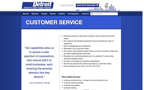 Screenshot of Support Page detroitchemical.com - Customer Service | Detroit Chemical - captured Oct. 5, 2014