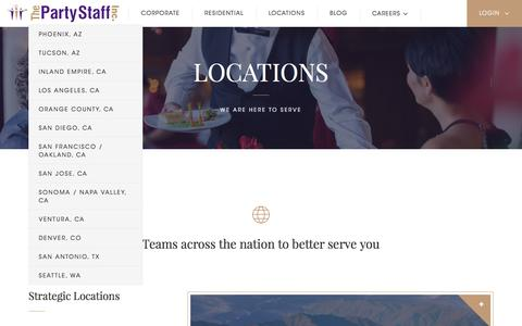 Screenshot of Locations Page partystaff.com - Locations - Party Staff - captured Sept. 22, 2018