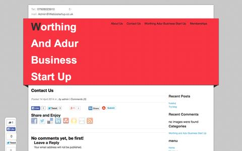 Screenshot of Contact Page wabizstartup.co.uk - Contact Us | Worthing And Adur Business Start Up - captured Oct. 7, 2014