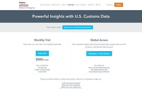 Screenshot of Pricing Page panjiva.com - Plans and Pricing – Powerful Insights with U.S. Customs Data — Panjiva - captured Nov. 17, 2018