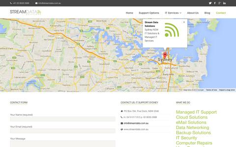 Screenshot of Contact Page streamdata.com.au - Contact Us | Stream Data Solutions - captured Oct. 7, 2014