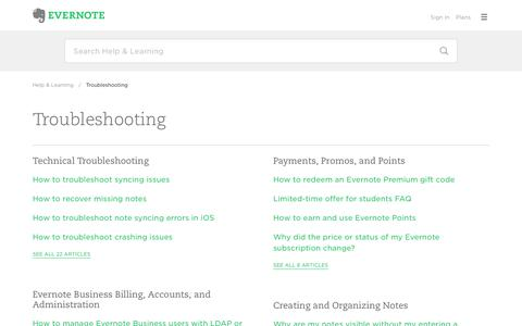 Troubleshooting – Evernote Help & Learning