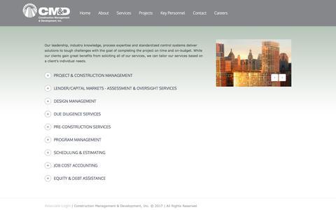 Screenshot of Services Page cmdintl.com - Services - Construction Management & Development - captured Aug. 25, 2017