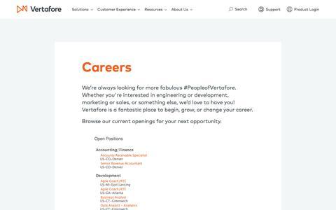 Screenshot of Jobs Page vertafore.com - Careers | Vertafore - captured Nov. 7, 2017