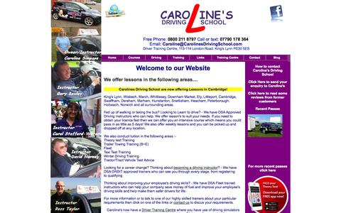 Screenshot of Home Page carolinesdrivingschool.com - Driving Lessons King's Lynn, Heacham, Wisbech, March, Downham Market, Ely, Littleport, Norwich, Swaffham, Dereham, Peterborough, Spalding, Whittlesey, Holbeach, Boston, Lincoln, Horncastle, Sleaford - captured Sept. 29, 2014