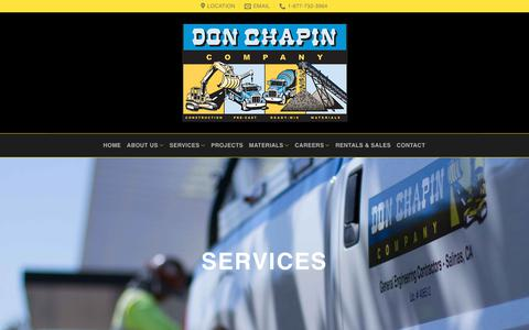 Screenshot of Services Page donchapin.com - Services | Don Chapin Company - captured Oct. 12, 2017
