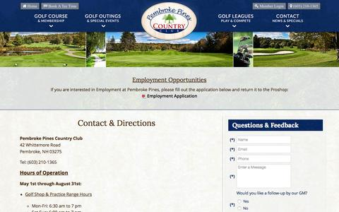 Screenshot of Contact Page Maps & Directions Page pembrokepinescc.com - Pembroke Pines Country Club | Public Golf Course | Pembroke, NH - Contact & Directions - captured June 13, 2016
