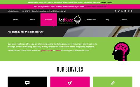Screenshot of Services Page fatbuzz.com - Services Archive - fatBuzz - captured July 17, 2018