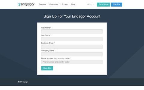 Screenshot of Trial Page engagor.com - Request a Trial of Engagor's Social Media Tool Today | Engagor - captured Sept. 16, 2014
