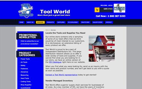 Screenshot of Services Page toolworld.net - Services - Tool World Inc - captured Oct. 7, 2014