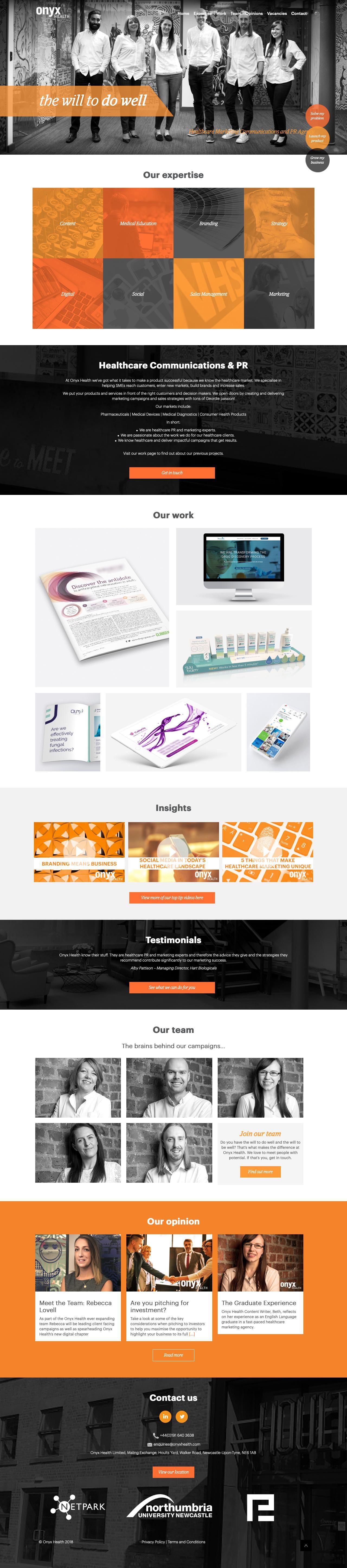 Screenshot of onyxhealth.com - Healthcare Marketing Communications & PR   Onyx Health - captured Oct. 20, 2018