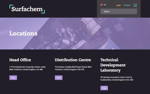 Screenshot of Locations Page surfachem.com - Locations | Surfachem UK - captured Sept. 21, 2018
