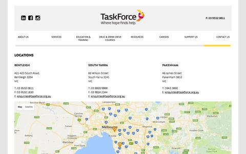 Screenshot of Contact Page Locations Page taskforce.org.au - TaskForce Community Agency - Locations - captured Nov. 29, 2016
