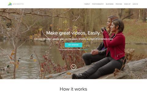 Screenshot of Home Page animoto.com - Animoto - Video Maker & Photo Slideshow Maker | Animoto - captured Dec. 12, 2015