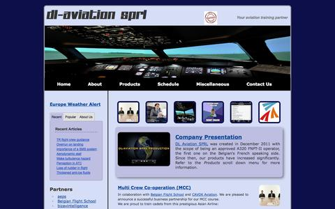Screenshot of Home Page dl-aviation.com - DL Aviation SPRL: Your aviation training partner for MCC course, Jet Orientation Training, interview preparation, airplane phobia... - captured Sept. 30, 2014
