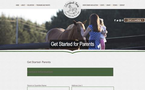 Screenshot of Signup Page hopeonhorseback.org - Get Started for Parents - Storybook Farm - captured Dec. 2, 2016