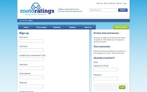 Screenshot of Signup Page motoratings.com - Signup | Motoratings - captured Oct. 7, 2014