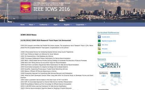 Screenshot of Press Page icws.org - ICWS 2016 - captured May 30, 2016