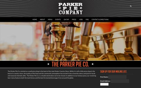 Screenshot of About Page parkerpie.com - About | The Parker Pie Co. - captured Jan. 25, 2016