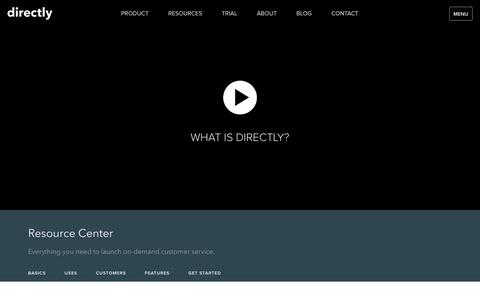 Screenshot of directly.com - On Demand Customer Service | Directly | Resource Center - captured Oct. 28, 2016