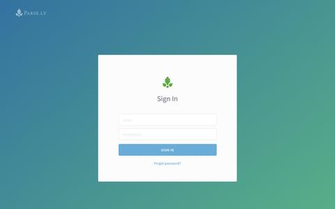 Screenshot of Login Page parsely.com - Site Overview - Parse.ly - captured July 19, 2016