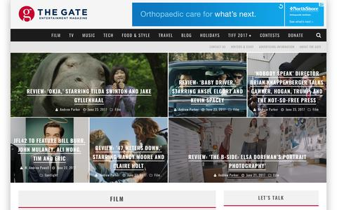 Screenshot of Home Page thegate.ca - The GATE | Online Entertainment Magazine | Interviews, News & Reviews - captured June 27, 2017