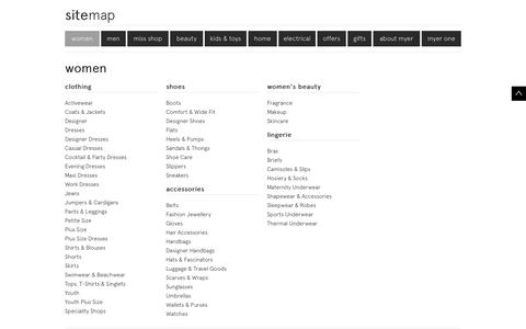 Myer Online - Site map