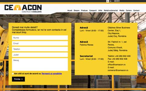 Screenshot of Contact Page cemacon.ro - CEMACON: Contact - captured July 14, 2018