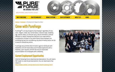 Screenshot of Jobs Page pureforge.com - Employment Opportunities - PureForge - captured Sept. 30, 2014