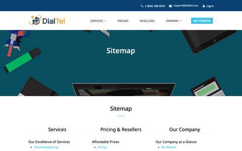 Screenshot of Site Map Page dialtel.com - Web Sitemap   Dialtel - captured Oct. 9, 2018